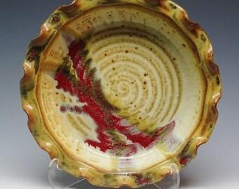 "Pottery Pie Plate Brick Oven Ash Brown, 9"" Pie Plate, Pie dish, Pie Baker, Deep Dish Pie Plate, Cream Pie Plate, Brown Pie"