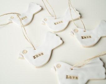 5 Bird Ornament Favors, Wedding Favors, Wedding Ornament, Wedding Day Decor,  White Ornament, Hanging Ornament, Set of 5 Pieces