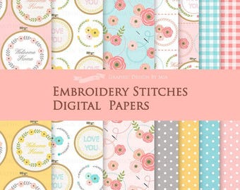 Embroidery Stitches / Sewing / Stitches Digital Paper Pack - Instant Download - DP116