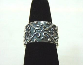 Vintage Estate .925 Sterling Silver Cigar Band Ring 10.4g E2818