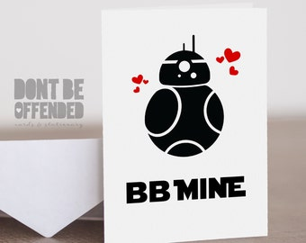 Quirky Personalised BB8 Star Wars Romantic Birthday Anniversary Card