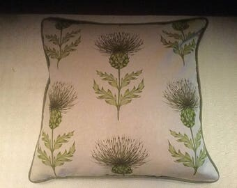 Beautiful Handmade Piped Cushion Cover - Green Thistle & Plaid Design