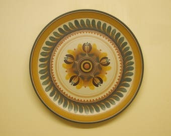 very large Vintage 70s Hand made and Painted Spanish studio Art Pottery ceramic  wall plate by Porta Celi