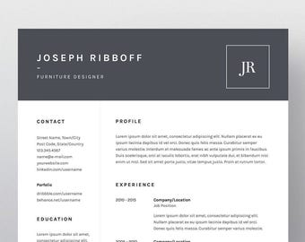 resume template one pages cv template cover letter for ms word photoshop and illustrator - Illustrator Resume Template