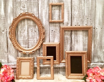 Rose Gold Picture Frame Set FREE SHIPPING, Custom, Metallic, Wedding Decor, Nursery Decor. Wall Hanging Table Top