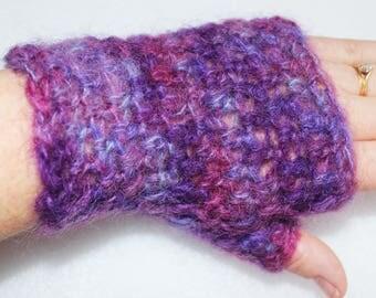 Crochet Fingerless Gloves - Purple blend - Fingerless Gloves - Hand Dyed Mohair yarn