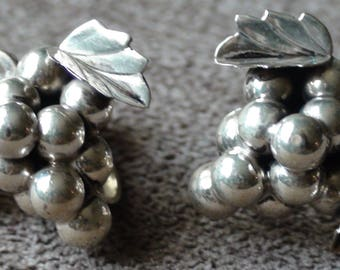 Antique Taxco Sterling Silver Grape Cluster Screw Back Earrings