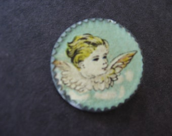 """Antique Angel Pin Small Metal with Paper Insert, Wire """"C"""" Clasp Closure - Early 1900's"""