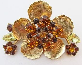 Extraordinary Vintage 1960s Floral Citrine and Light and Dark Topaz Rhinestone Trembler Pin
