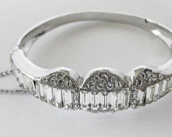 Vintage - Collectible - Rhinestone Bangle Bracelet - Jewelry - Silver - Rhinestones - Bracelet - Bangle - Clear - Sparkling - Flawless