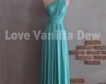 Bridesmaid Dress Infinity Dress Turquoise Floor Length Maxi Wrap Convertible Dress Wedding Dress