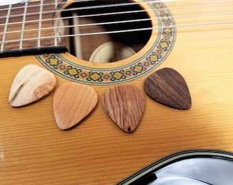 Set of 4 Premium Hand made Wooden Guitar Picks, Wood Guitar Plectrum,Guitar Accessory,Musicians Gift,stocking stuffer