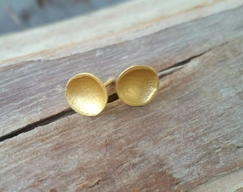Gold Stud Earrings 14K, Solid Gold Earrings, Gold Post Earrings, Modern Gold Earrings, Anniversary Gift for Wife, Stylish Concaved Earrings