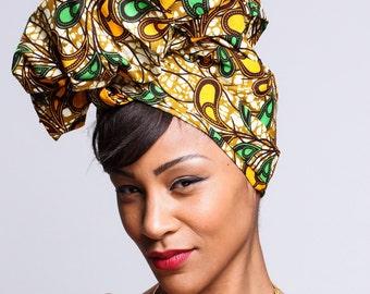 Ankara Green Yellow Print head wrap   African Wax print Turban wrap   Print headscarf   African wax print material   Turban Wrap   Print 6