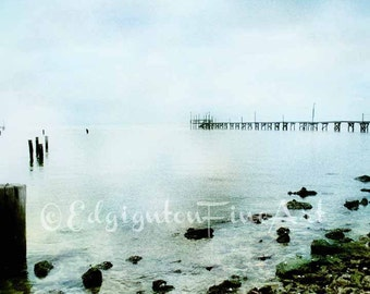Beach Photography decor, beach photo, beach decor, ocean photo, summer decor, blue, green, water, rocks, pier, teal decor, cottage decor