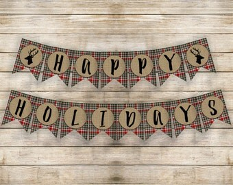 Happy Holidays Banner Instant JPEG Buffalo Plaid Banner Christmas Decor Holiday Decor Holiday Sign Christmas Sign Home Decorations