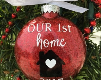 First Home Ornament, Our First Home, Christmas Ornament, Personalized,  Custom Ornament,