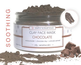 CHOCOLATE Clay Face Mask-Chocolate Mask-Cocoa Face Mask-Chocolate Face Scrub-Oatmeal Face Mask- 2 oz.