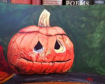 Rotting Pumpkin No.2 - 9 x 6 inch Acrylic Painting