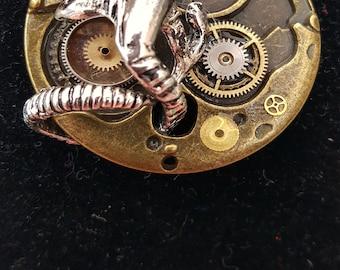 Steampunk Alien Pin Handmade in the UK
