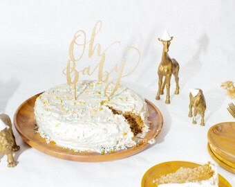Oh Baby Cake Topper, Gold