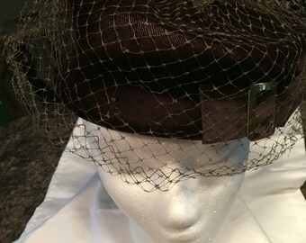 Pillbox Chocolate Brown Union Made Velvet Hat with Buckle Vintage