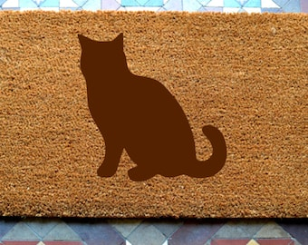 Cat door mat engraved coir door mat Size: 400 x 600 mm  UK Based