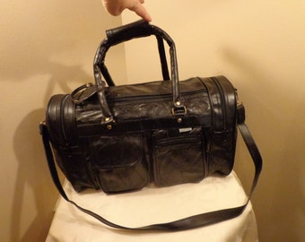 Genuine Black Leather Duffel Bag, 3 Compartment Duffel Bag, Travel Bag, Carry On Bag, Weekender, Patchwork Textured Black Leather, Pockets
