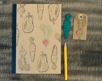 Veggies notebook, hand printed journal, kraft paper journal, brown notebook, vegetables journal, hand stamped notebook, veg notebook