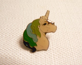 Vintage 80s Mutli-Color Hair Unicorn Enamel Pin / Button / Badge