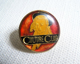 Vintage 80s Boy George - Culture Club Red and Black Enamel Pin / Button / Badge