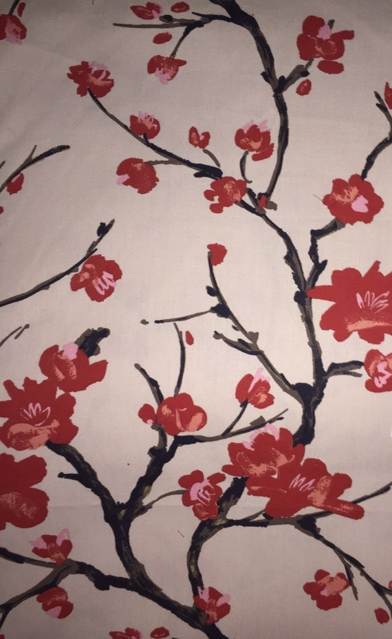 Cherry Blossom Asian Chinoiserie Upholstery Fabric