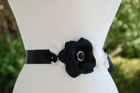 Black and ivory bridal belt;black satin floral bridal belt and hairclip;black and ivory sash and hairclip