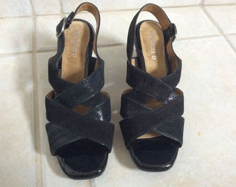 Nice! Vtg New! Michelle D Size 9M Black Suede and Patent Leather Open Toe & Heel Shoes.