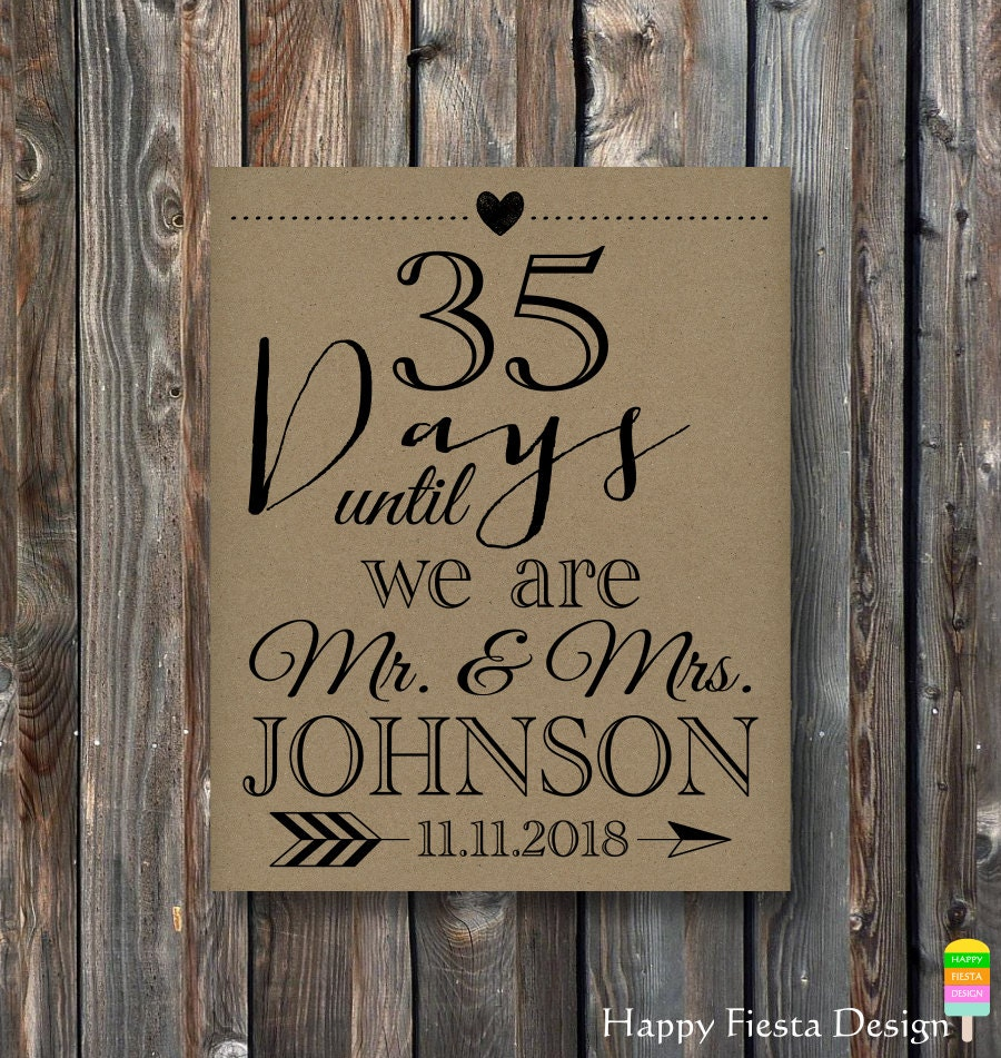 Wedding Countdown Checklist: PRINTABLE Wedding Countdown Sign-Days Until We Are Mr And