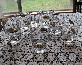 Vintage Whiskey Glasses, Set of 7, Allied (trucking??) Gold and Black