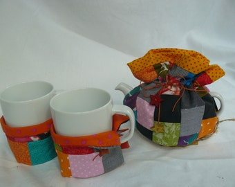 patchwork dressed teapot and cups