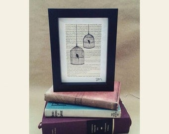 Bird Cage painting on Jane Eyre Book Page