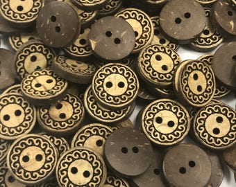 "36 Pieces 1/2"" Natural Coconut Button- Organic Buttons- Designer Coconut Buttons-Scrapbooking Buttons - Brown Buttons- Shirt Buttons - Ring"
