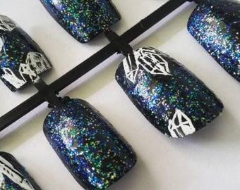 Crystal Sparkle Acrylic Nails