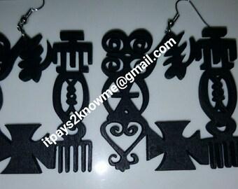 West African Adinkra symbol earrings