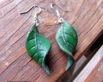 Carved Moulded Leather Leaf Earrings