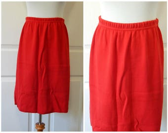Vtg Red Sweat Skirt Size Small USA Made Cotton Knee Length (R2-17)