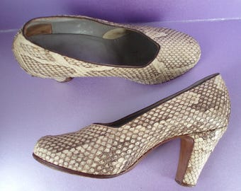 Snakeskin WW2 c1940's Leather Shoes Size 5 .  WW11 Fashion .  Lindy Hop . Land Girl .