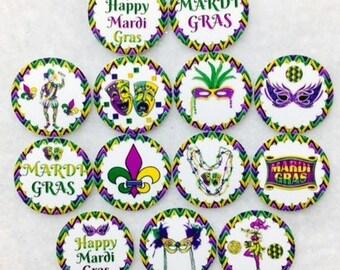 Set of 50/100/150/200 Mardi Gras Party  1 Inch Confetti Circles