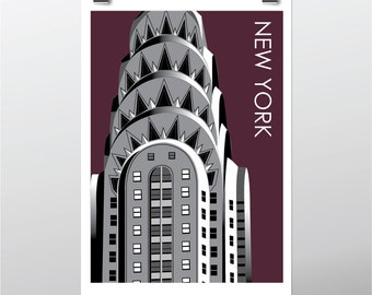 Afdrukken van New York Chrysler Building, New York Wall Art Travel Poster, New York gerelateerde giftA4, 8 x 10 kunst print
