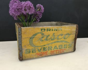 Casco Beverages Wood Crate - Vintage Soda Crate - Portland Maine - Pop Crate - Wooden Crate - Yellow Crate - Advertising - Soft Drink Crate