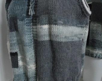 Patchwork Merino grey swatch to black + white sleeveless vest
