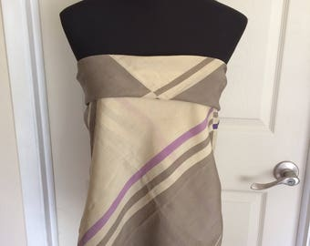 Vintage Large Square Echo Scarf in Cream and Beige - FREE SHIPPING EVERYWHERE