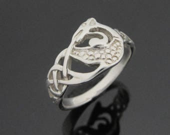 ON SALE - Celtic Dragon Ring -Irish Celtic Ring - Sterling Silver Celtic Dragon Ring - Irish Jewelry -  Designed and Made in Ireland